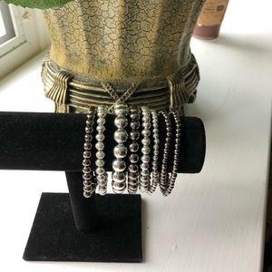 Beaded bracelets.